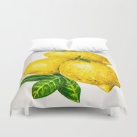 lemon Duvet Covers featuring Lemon by Peiting Tsai