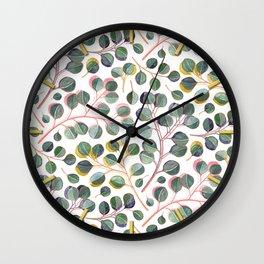 Simple Silver Dollar Eucalyptus Leaves Wall Clock