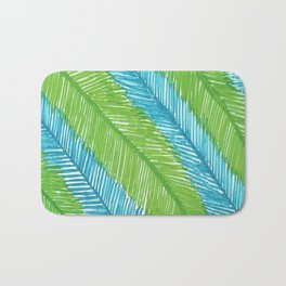 Blue and Green Palm Leaves Bath Mat