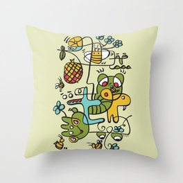 The Buzzz Doodle Monster World by Pablo Rodriguez (Pabzoide) Throw Pillow
