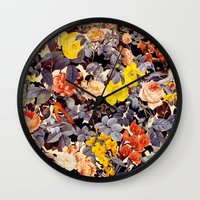 floral pattern Wall Clocks featuring Floral Pattern by Burcu Korkmazyurek