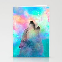 hobbes Stationery Cards featuring Breathing Dreams Like Air (Wolf Howl Abstract) by soaring anchor designs
