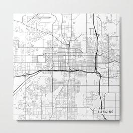 Lansing Map, USA - Black and White Metal Print