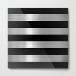 Black & Silver Metallic Stripes Metal Print