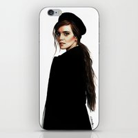 emma watson iPhone & iPod Skins featuring Emma Watson by Cécile Pellerin