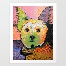 Daisy...Abstract dog art, Yorkshire Terrier Art Print