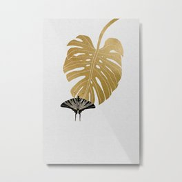 Botanical, Butterfly & Monstera Metal Print