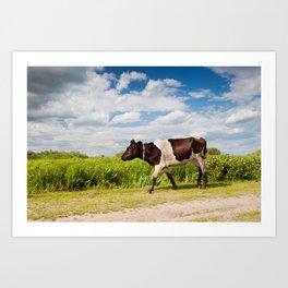 Calf walking in natural landscape Art Print