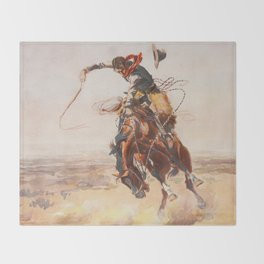A Bad Hoss by Charles Marion Russell (c 1904) Throw Blanket