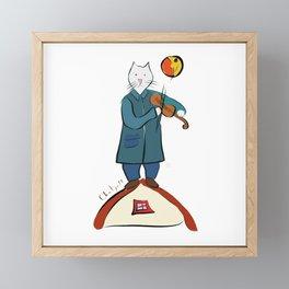 Cat Fiddler on the Roof  by Chatgall Framed Mini Art Print