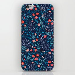 Teeny Tiny Floral Blue iPhone Skin