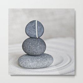 Zen cairn pebble stone balance grey Metal Print