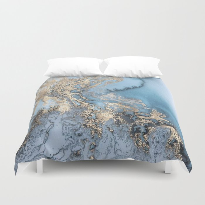 Gold And Blue Marble Duvet Cover By Avaholmesphotography