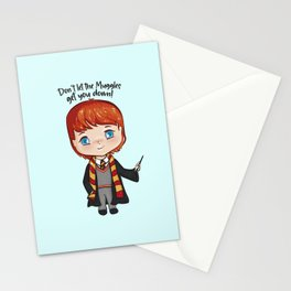 Ron W gingerhead wizard kid, Hp friend, magical school student Stationery Cards