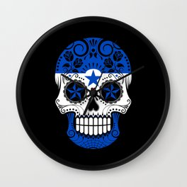 Sugar Skull with Roses and Flag of Honduras Wall Clock
