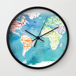 worldmap continents and oceans Wall Clock