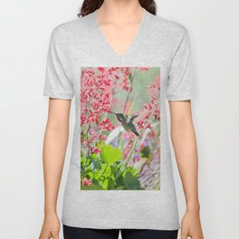 Hummingbird drinking Coral Bell Flowers by CheyAnne Sexton Unisex V-Neck