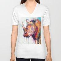 rhino V-neck T-shirts featuring Rhino by Slaveika Aladjova