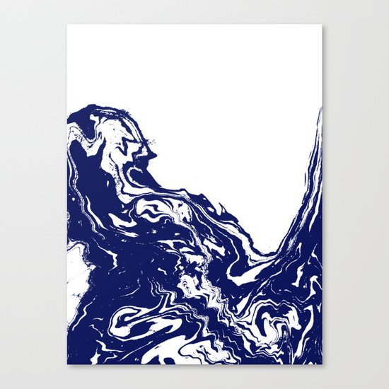 Indigo Wave water ocean abstract painting blue and white nautical trendy gender neutral dorm  Canvas Print