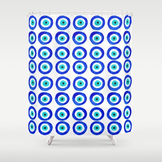 Evil Eye Talisman - on white Shower Curtain