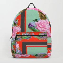 SAFFRON COLOR PINK ROSE AFTERNOON TEA Backpack