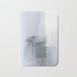 Blue Grey Minimalist Abstract Painting Bath Mat
