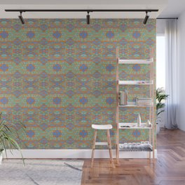 Orange and blue abstract pattern in eastern style Wall Mural