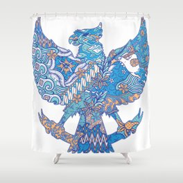 batik culture on garuda silhouette illustration Shower Curtain