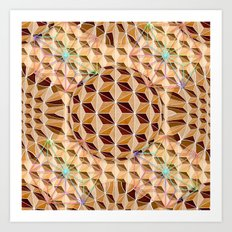 Geodesic Asanoha (Wooden) Art Print