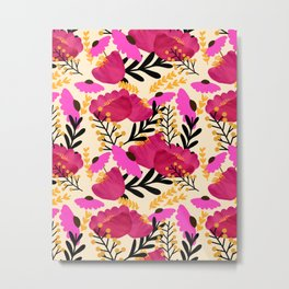 Vibrant Floral Wallpaper Metal Print