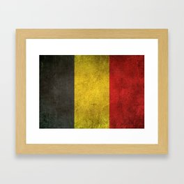 Old and Worn Distressed Vintage Flag of Belgium Framed Art Print