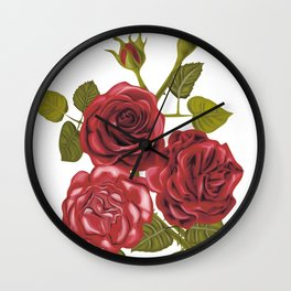 Beautiful Vintage Roses Bouquet. Red Roses Digital Art Print Wall Clock