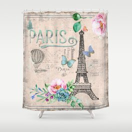Paris - my love - France Nostalgy - pink French Vintage Shower Curtain