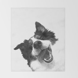 Black and White Happy Dog Throw Blanket
