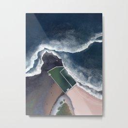 North Narrabeen Rockpool in Sydney Australia | Aerial Illustration Metal Print