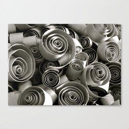 black and white paper swirls Canvas Print