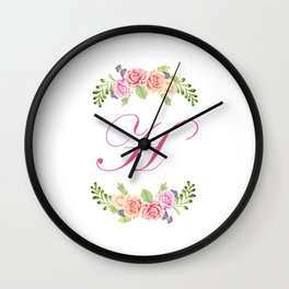 Floral Initial Letter H Wall Clock