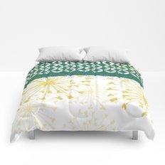 Boho dandelion green and yellow Comforters