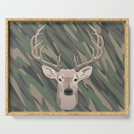Beautiful buck dear head with big antlers Serving Tray