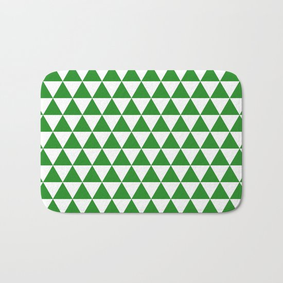 Triangles (Forest Green/White) Bath Mat