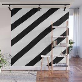 Soft Diagonal Black and White Stripes Wall Mural