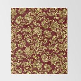 Red & Gold Floral Damasks Pattern Throw Blanket