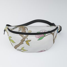 Chinoiserie Panels 4-5 Silver Gray Raw Silk - Casart Scenoiserie Collection Fanny Pack
