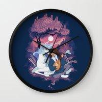 the last unicorn Wall Clocks featuring Last Unicorn + Dan Avidan by Stephanie Kao