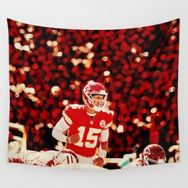Chiefs Mahomes before the snap Wall Tapestry