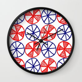 Cogs and Wheels Blue and Red Wall Clock