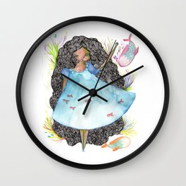 Girl and fish Wall Clock