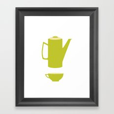 Green Coffee Pot and Cup Framed Art Print