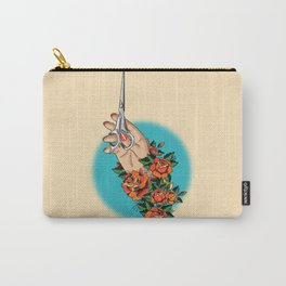 Tattoo-Hand, Scissors, Flowers Carry-All Pouch