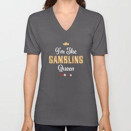 Gambling Queen Funny Casino Poker Gift Unisex V-Neck